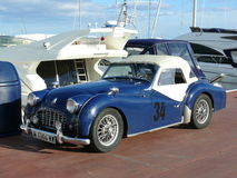 Blue convertible Triumph TR3 Royalty Free Stock Photography