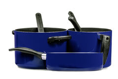 Blue cooking pans and pots Stock Photos