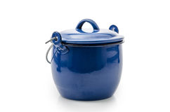 Blue cooking pot isolated on white : Clipping path included. Stock Photos