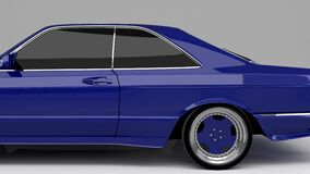 Blue cool car 3d render animation studio look environment full side view