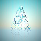 Blue cool circles concept tree vector card Royalty Free Stock Image