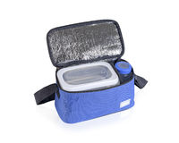 Blue cooler bag filled with plastic bottle and boxes Royalty Free Stock Images