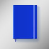 Blue copybook with elastic band and bookmark. Stock Image