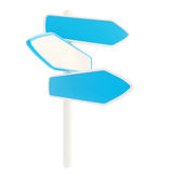 Blue copyspace signpost with empty plates Royalty Free Stock Photos