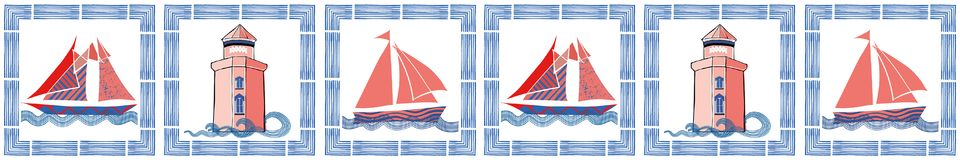 Blue, coral and white nautical border with hand drawn brush frame, sailing boats and light house. Seamless vector. Pattern. Great for edging, packaging, fabric stock illustration