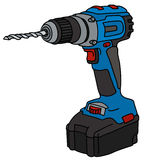 Blue cordless drill. Hand drawing of a blue cordless drill Stock Image