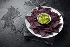 Blue corn Organic tortilla chips with Guacamole royalty free stock images