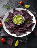 Blue corn Organic tortilla chips with Guacamole royalty free stock photography