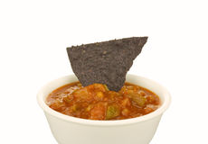 Blue Corn Tortilla Chip and Salsa Royalty Free Stock Images
