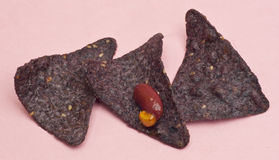 Blue Corn tortilla Chips with Bean Dip Stock Image