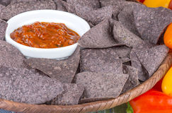 Blue corn tortilla chips Royalty Free Stock Photo