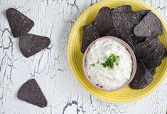 Blue corn tortilla chips Stock Photo