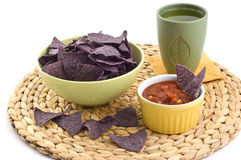 Blue corn tortilla chips with salsa Stock Photos