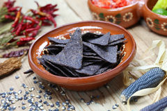 Blue corn tortilla chips royalty free stock images