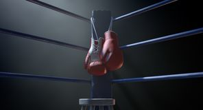 Boxing Corner And Boxing Gloves Royalty Free Stock Images