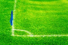 Free Blue Corner Flag On A Football Field With Bright Fresh Green Turf Grass And White Soccer Touch Lines Royalty Free Stock Photography - 102136327