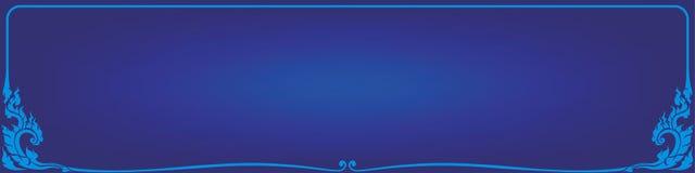 Blue corner frame line thai. Blue background floral Royalty Free Stock Images
