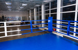 Blue corner of a regular boxing ring surrounded by ropes in a gy Royalty Free Stock Photography