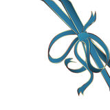 Blue corner ribbon. Decorative blue corner ribbon with golden stripes Royalty Free Stock Photo