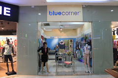 Blue corner shop in yangon Royalty Free Stock Photo