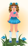 Blue Cornflower young girl, vector Stock Image