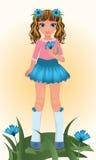 Blue Cornflower young girl, vector. Illustration stock illustration