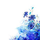 Blue cornflowers by abstract elements. White background with blue cornflowers and buds by abstract elements. Decorative abstraction blots stock illustration