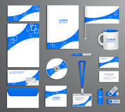 Blue corporate id template, company style. Abstract of design elements. Business documentation Stock Image