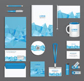 Blue corporate id template  with triangular faces, company style, abstract of design elements. Stock Photo