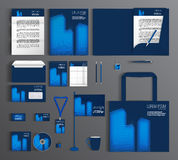 Blue corporate Identity. Set with skyscrapers designs. Blue corporate identity template design with elements of skyscrapers. Business set stationery, brochure vector illustration