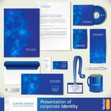 Blue corporate identity template with digital elements. Royalty Free Stock Images