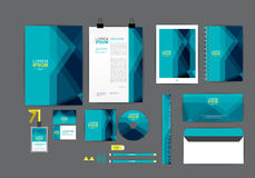 Blue corporate identity template  for your business. Includes CD Cover, Business Card, folder, ruler, Envelope and Letter Head Designs Stock Photos