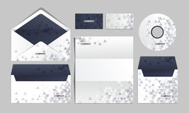 Blue corporate origami identity template. Vector company style for brandbook and guideline Royalty Free Stock Photo