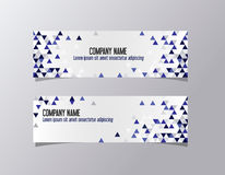 Blue corporate triangles identity template banner. Geometric company business banner vector. Royalty Free Stock Photo