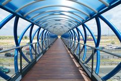 Blue corridor. Corridor of bridge at Mostoles city in Madrid Spain Royalty Free Stock Photography