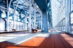 Blue corridor Stock Images