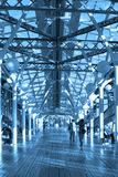 Blue corridor, spheres and people Royalty Free Stock Photo
