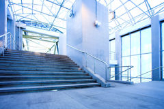 Blue corridor and stairs Royalty Free Stock Photo
