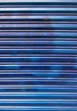 Blue corrugated iron background Stock Image