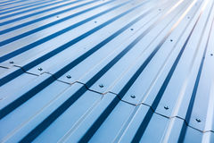 Blue corrugated metal roof with rivets Royalty Free Stock Images