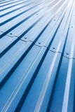 Blue corrugated steel roof with rivets Royalty Free Stock Images
