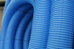 Blue corrugated tube Stock Photography