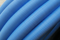 Blue corrugated tube Stock Photo