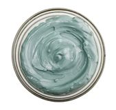 Blue cosmetic clay. In glass bowl isolated on white background, with clipping path Stock Photo