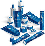 Blue Cosmetics Array. Vector illustration of various cosmetic products. AI8 vector file included Stock Image