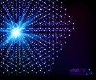 Blue cosmical shining molecular hexagonal vector grid Stock Photo