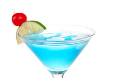 Blue Cosmopolitan cocktail with pina colada Royalty Free Stock Photography