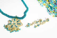 Blue costume jewelry set isolated on white Royalty Free Stock Photo