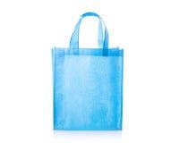 Blue cotton bag. Studio shot isolated on white royalty free stock image