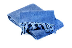 Blue cotton blanket isolated ower white. Background stock photos
